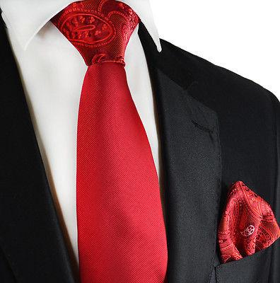 Red Contrast Knot Tie Set by Paul Malone Paul Malone Ties - Paul Malone.com