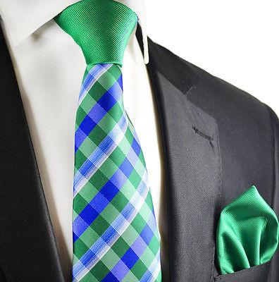 Blue and Green Contrast Knot Tie Set by Paul Malone Paul Malone Ties - Paul Malone.com