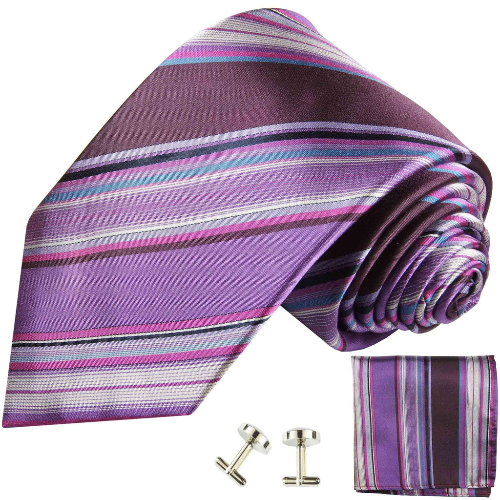 Elegant Violet Striped Silk Necktie Paul Malone Ties - Paul Malone.com