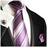 Purple Striped Silk Pocket Square Paul Malone  - Paul Malone.com