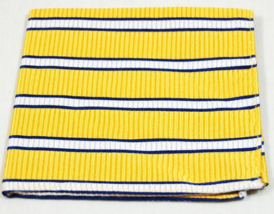 Yellow, Blue and White Striped Silk Pocket Square Paul Malone  - Paul Malone.com