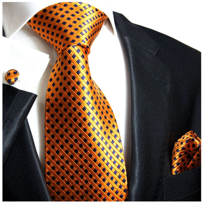 Orange and Navy Silk Necktie Set Paul Malone Ties - Paul Malone.com
