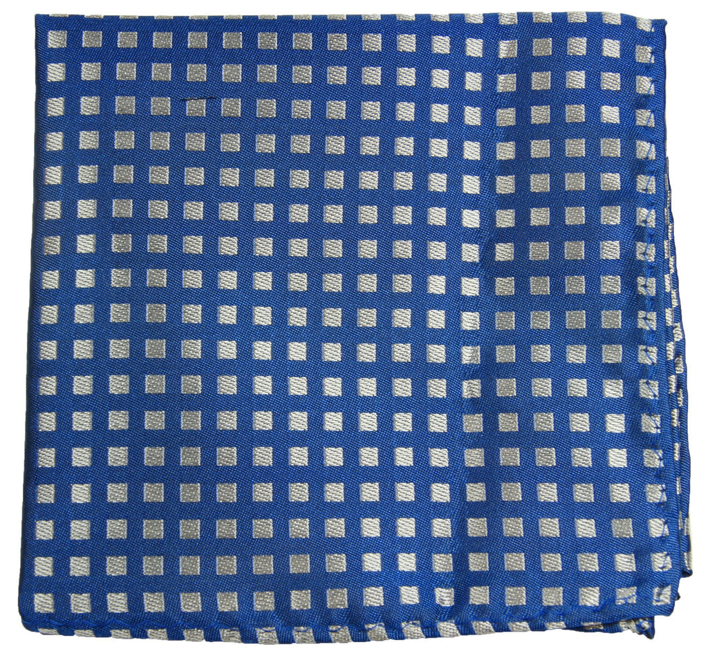 Blue and Silver Checkered Silk Pocket Square Paul Malone  - Paul Malone.com