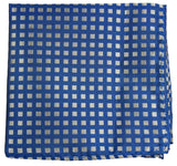 Blue and Silver Checkered Silk Pocket Square Paul Malone