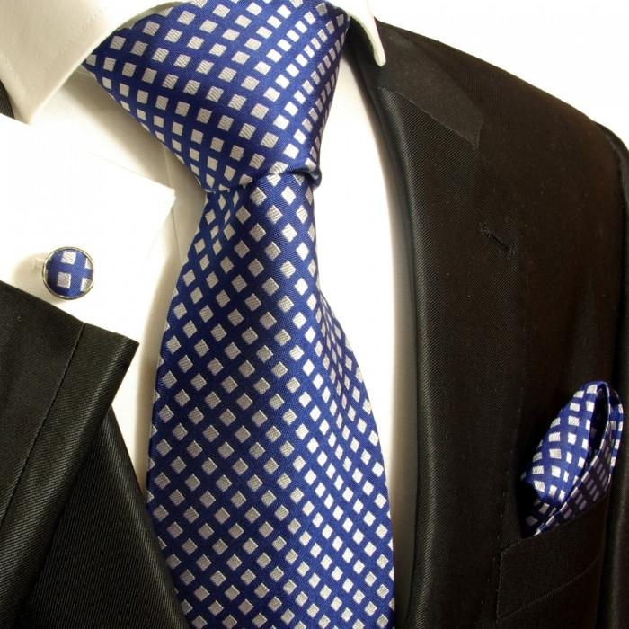 Blue and Silver Silk Necktie Set
