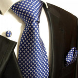 Blue and Silver Silk Necktie Set Paul Malone Ties - Paul Malone.com