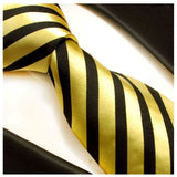 Gold and Black Striped Silk Necktie Set by Paul Malone Paul Malone Ties - Paul Malone.com
