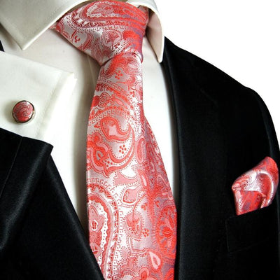 Extra Long Red Paisley Silk Necktie Set Paul Malone Ties - Paul Malone.com