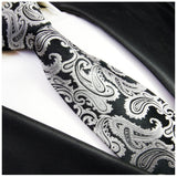 Black and Silver Paisley Silk Necktie Set Ties Paul Malone
