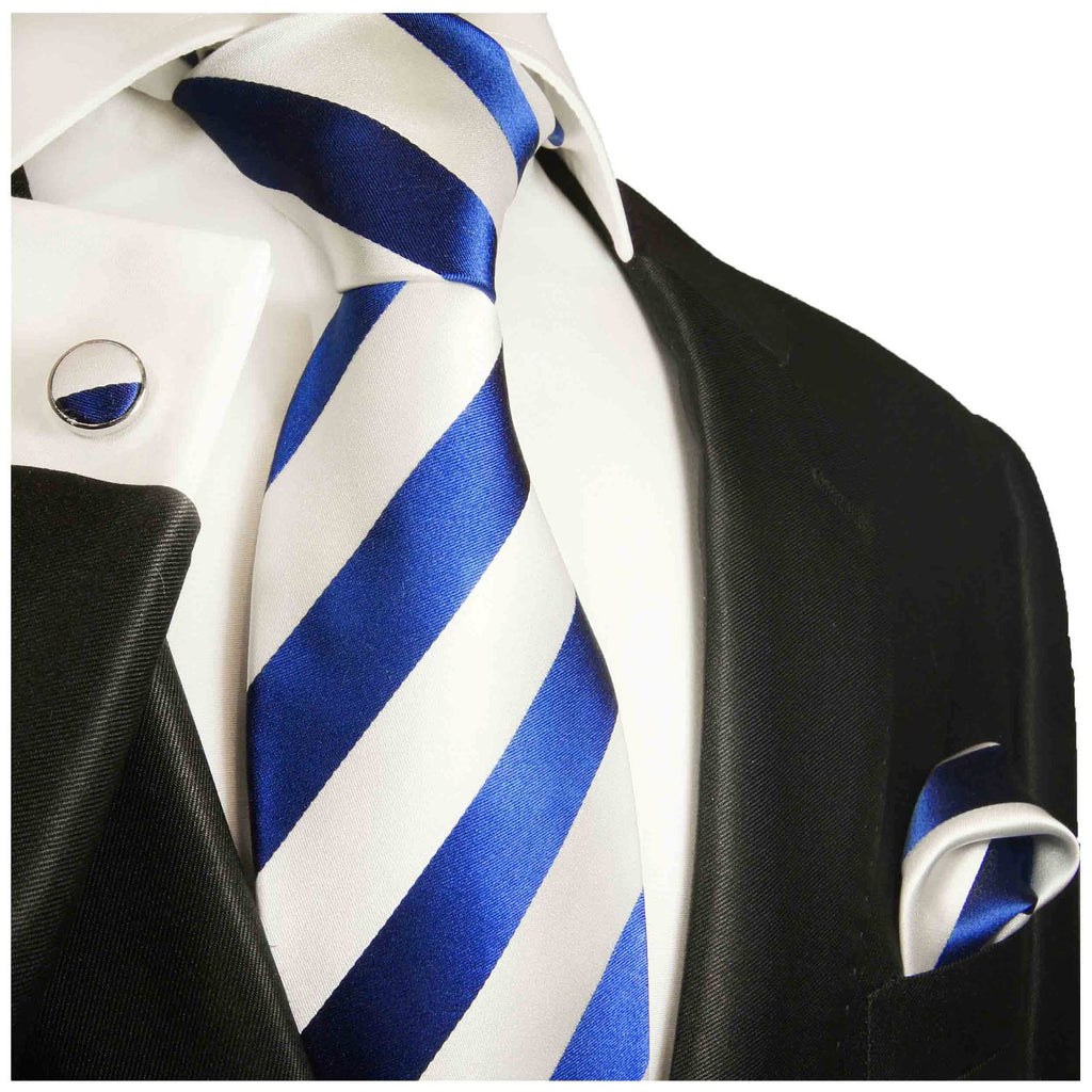 Blue and White Striped Silk Pocket Square Paul Malone