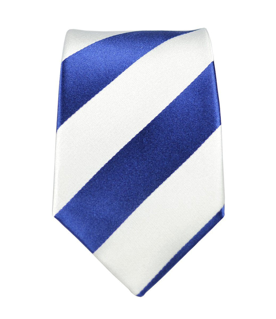 Navy and White Block Striped Silk Tie and Accessories Paul Malone Ties - Paul Malone.com