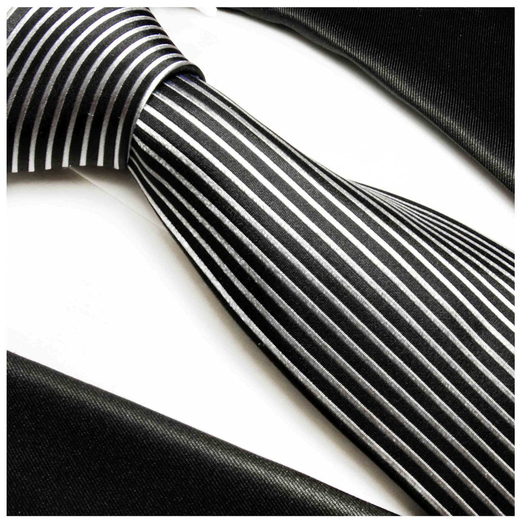 Black and Silver Striped Silk Necktie Set Paul Malone Ties - Paul Malone.com