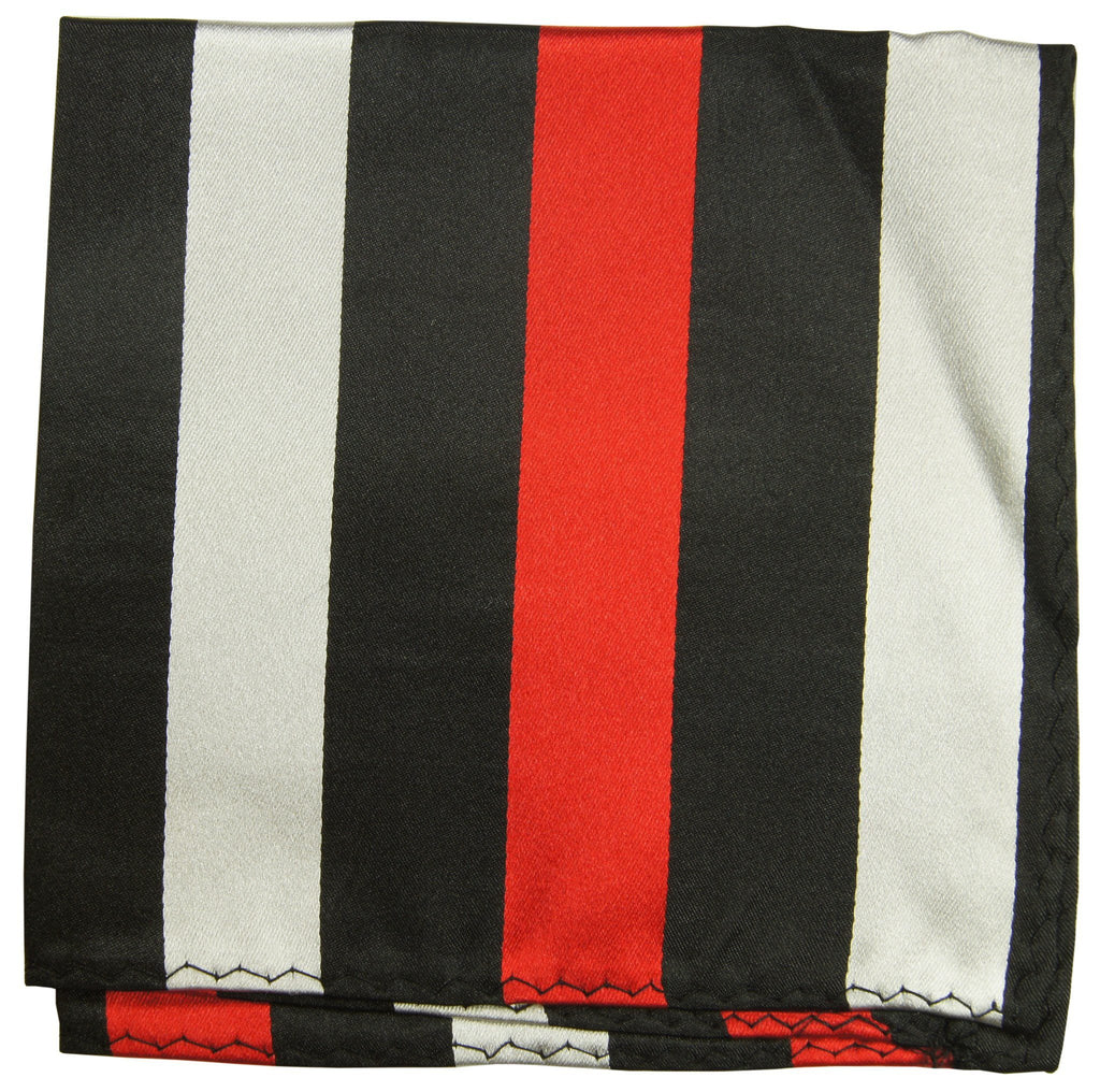Red, Black and Silver Striped Silk Pocket Square Paul Malone  - Paul Malone.com