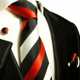 Black, Red and Silver Block Striped Silk Tie and Accessories