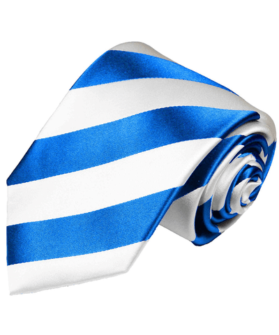 Sky Blue and White Club Striped Silk Men's Tie Paul Malone Ties - Paul Malone.com