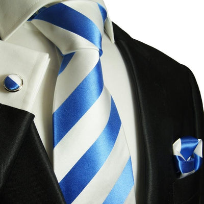 Blue and White Block Striped Silk Tie and Accessories Paul Malone Ties - Paul Malone.com