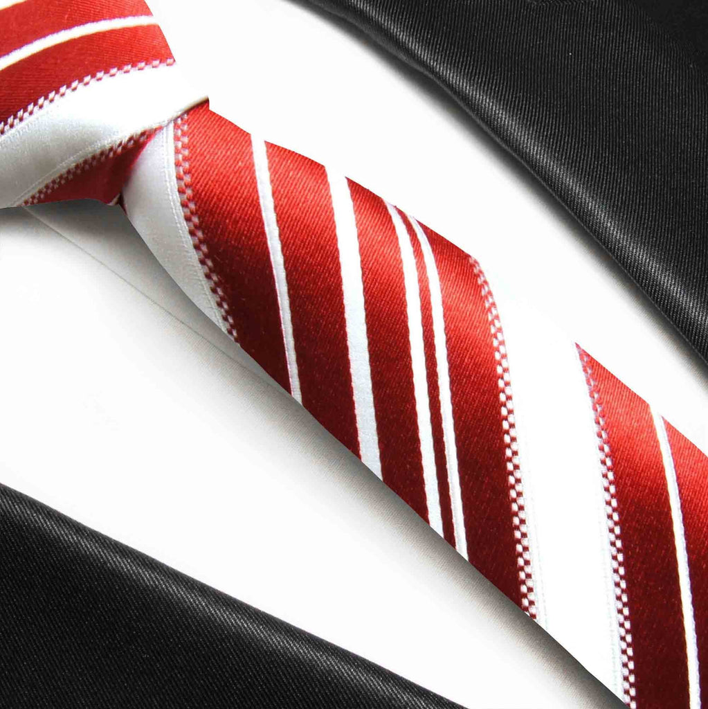 Red and White Striped Paul Malone Silk Boys Tie Paul Malone Ties - Paul Malone.com