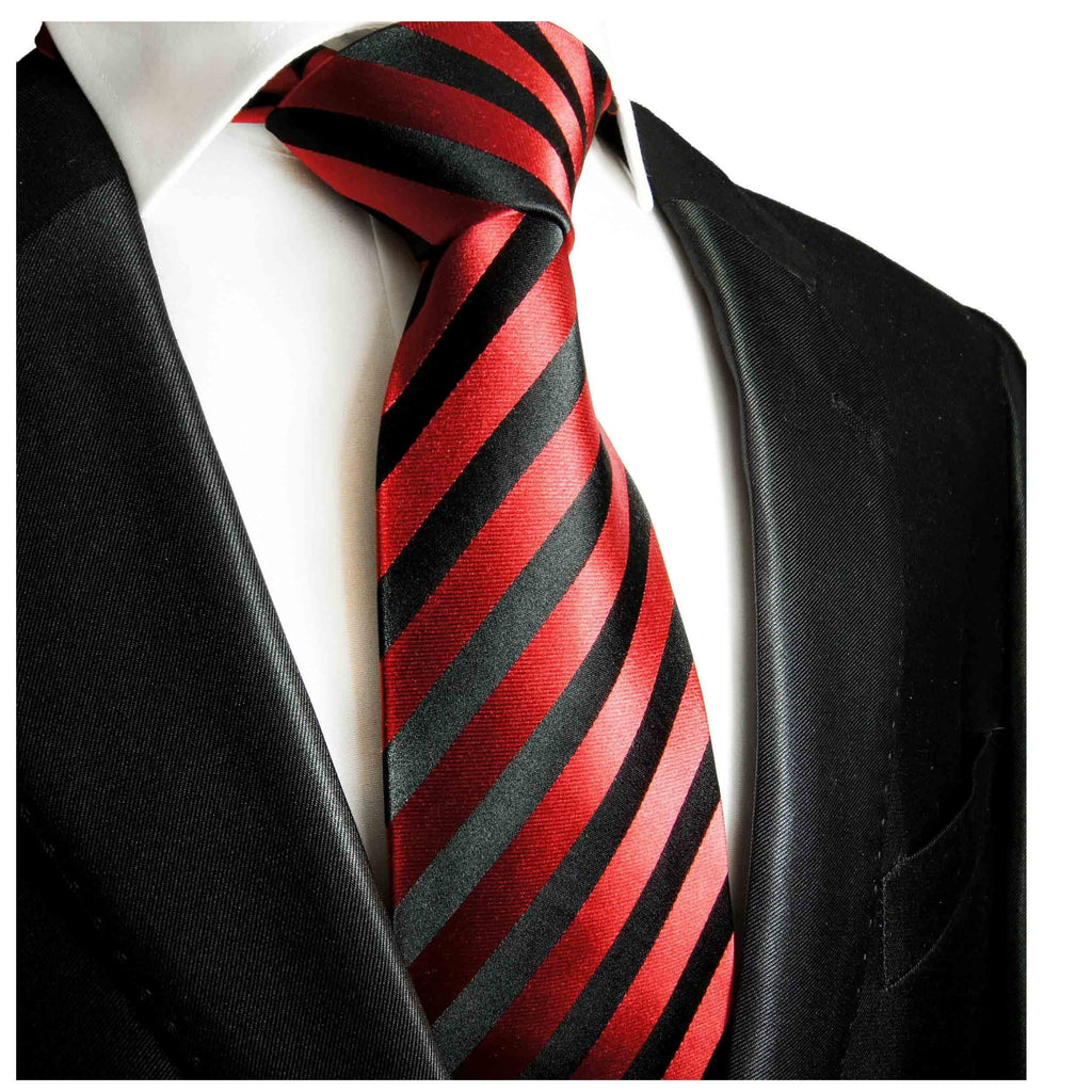 Red and Black Striped Boys Silk Tie Paul Malone Ties - Paul Malone.com