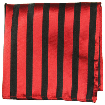 Red and Black Striped Silk Pocket Square Paul Malone  - Paul Malone.com