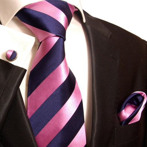 Blue and White Striped Silk Tie Set by Paul Malone