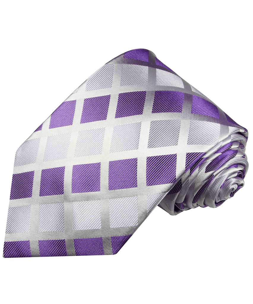 Violet and Silver Checked Men's Silk Necktie Paul Malone Ties - Paul Malone.com