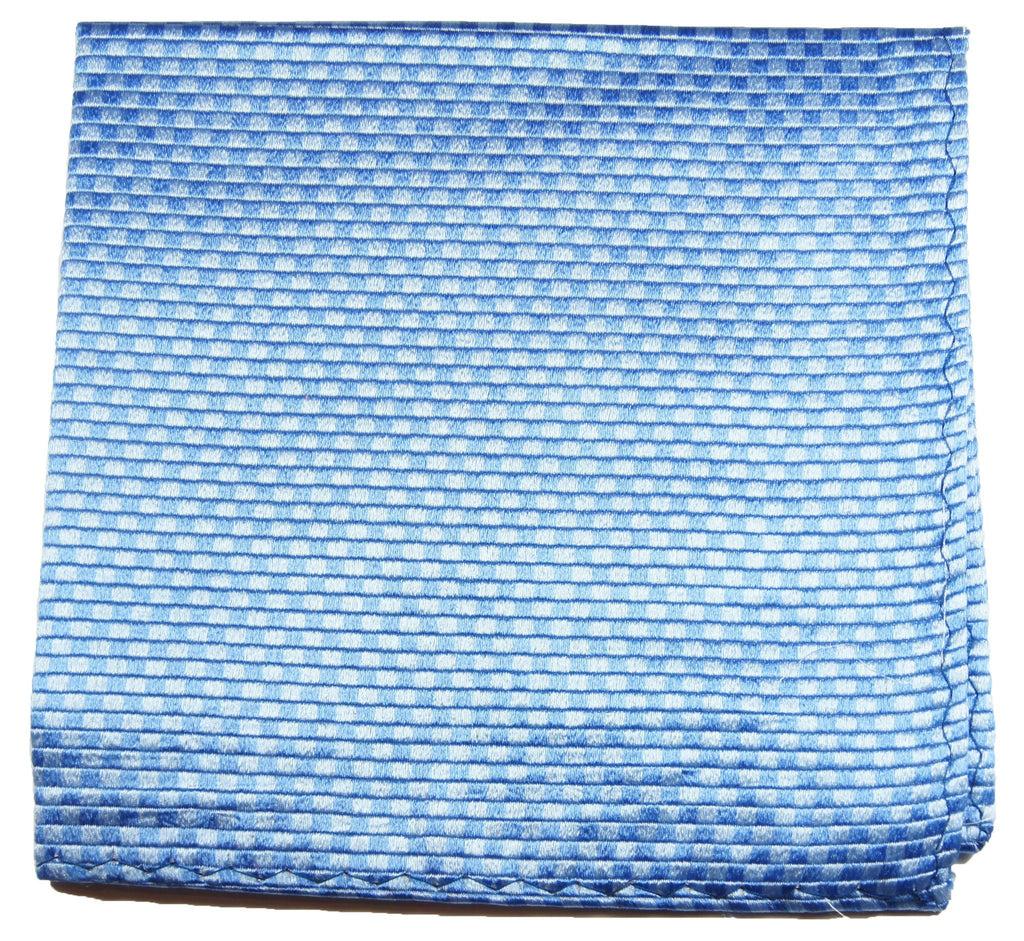Solid Blue Checkered Silk Pocket Square Paul Malone  - Paul Malone.com
