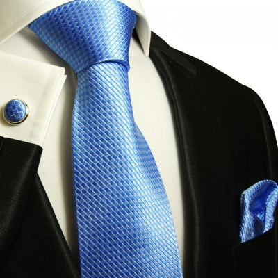 Blue Microchecked Silk Tie and Accessories in Silk Paul Malone Ties - Paul Malone.com