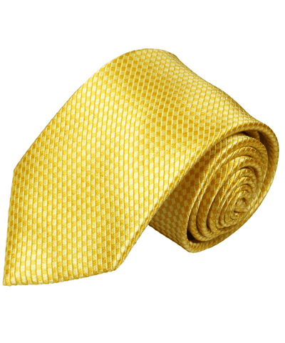 Solid Yellow Microchecked Silk Necktie Paul Malone Ties - Paul Malone.com