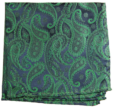 Emerald Green and Navy Pocket Square Paul Malone Pocket Square - Paul Malone.com