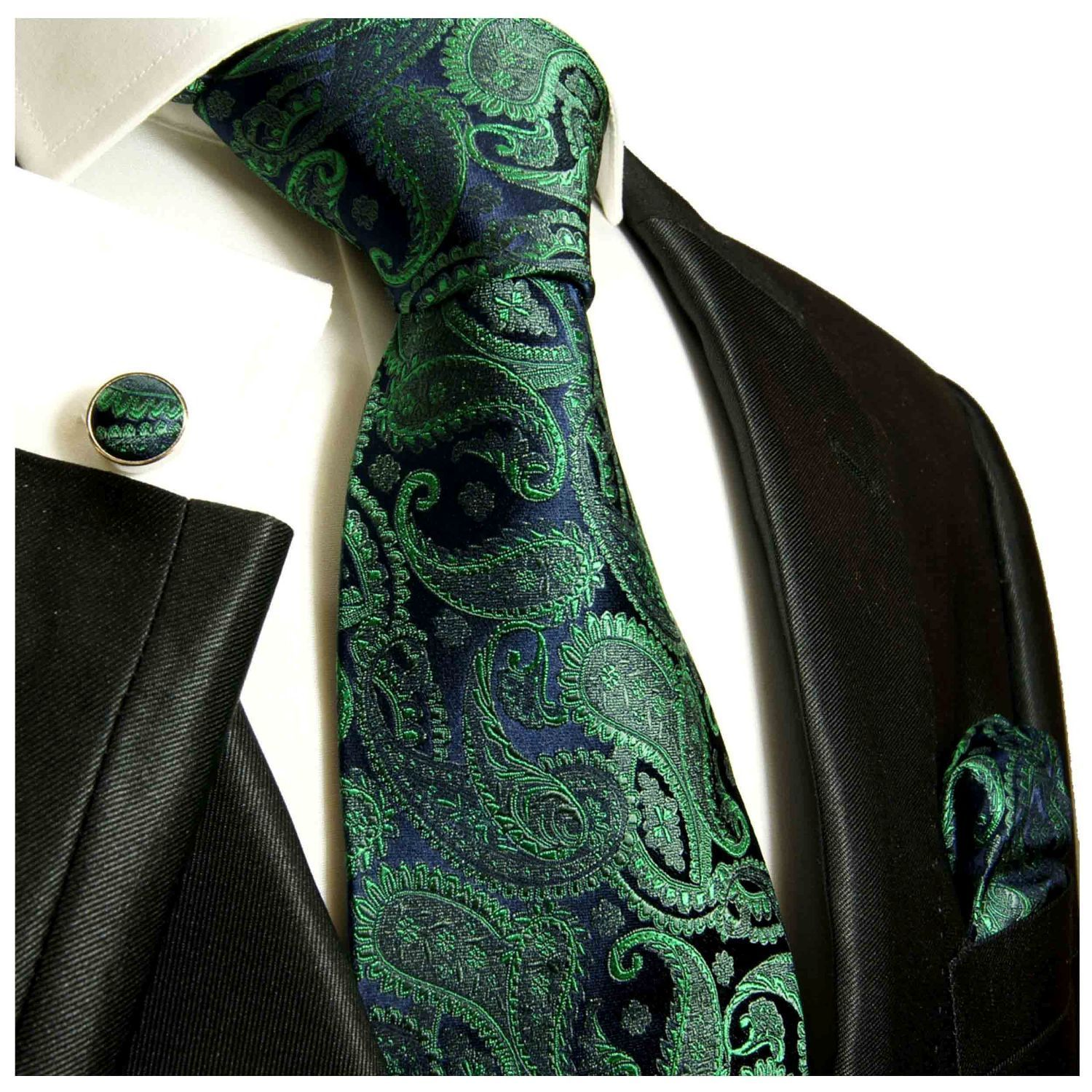 Navy Blue Large Paisley Pocket Square with Red Trim