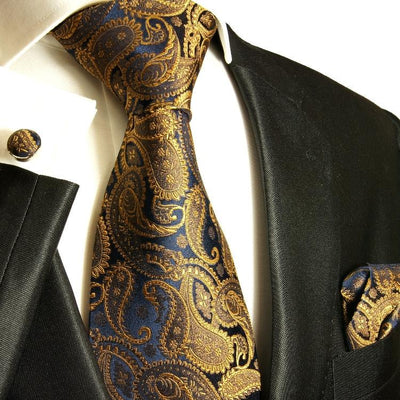 Bronze and Navy Silk Necktie Set by Paul Malone Paul Malone Ties - Paul Malone.com