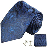 Navy Paisley Silk Necktie Set by Paul Malone Paul Malone Ties - Paul Malone.com