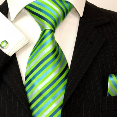 Extra Long Green and Blue Striped Silk Tie and Accessories Paul Malone Ties - Paul Malone.com
