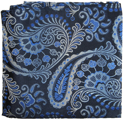 Blue and Black Paisley Silk Pocket Square Paul Malone  - Paul Malone.com