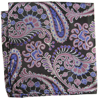 Purple and Black Paisley Silk Pocket Square Paul Malone  - Paul Malone.com
