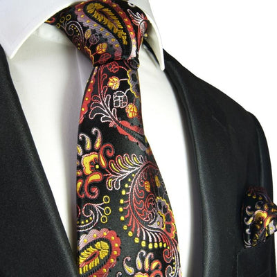 Red, Yellow and Black Paisley Formal Silk Tie and Accessories Paul Malone Ties - Paul Malone.com