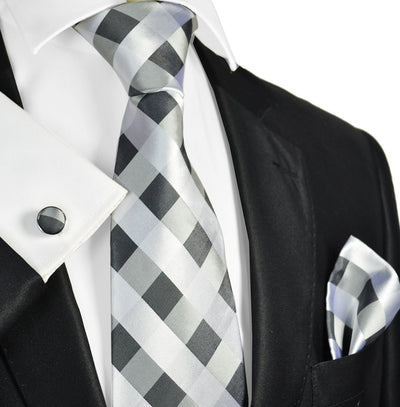 Silver and Grey Plaid Silk Necktie Paul Malone Ties - Paul Malone.com