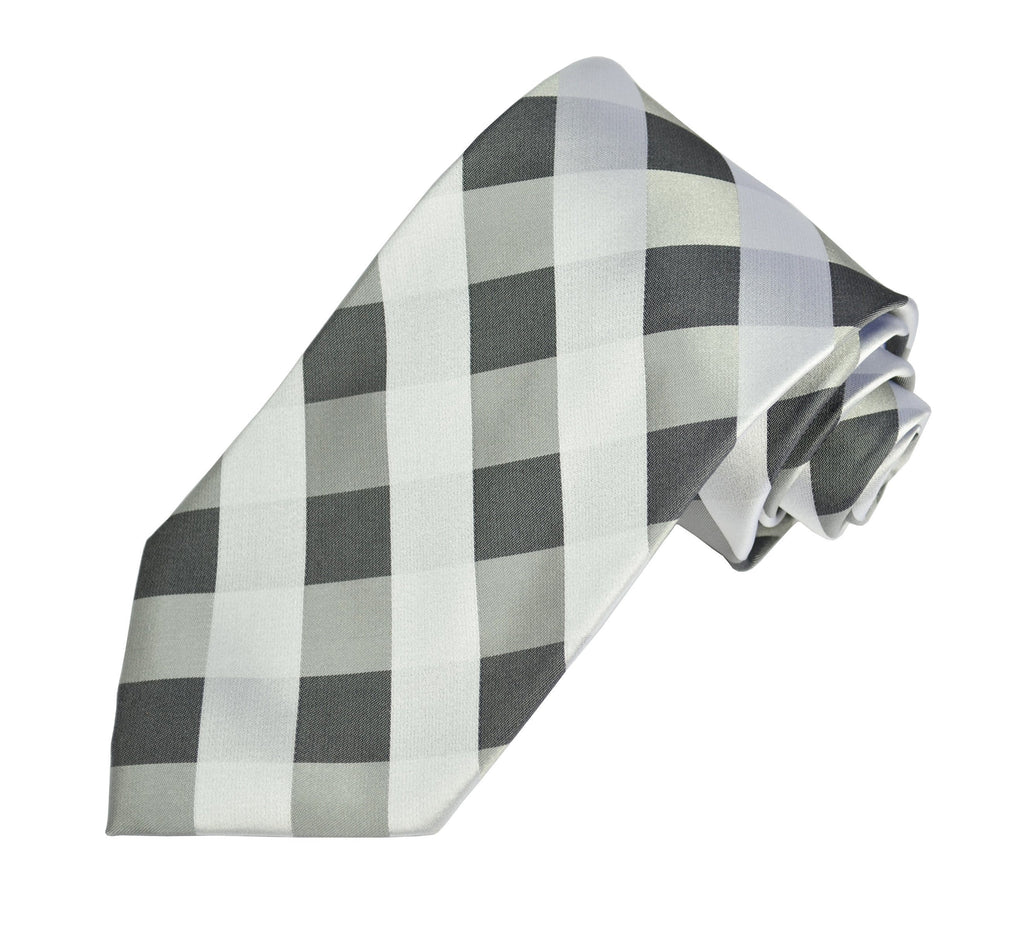 Grey Plaid Silk Tie and Accessories in Silk Paul Malone Ties - Paul Malone.com
