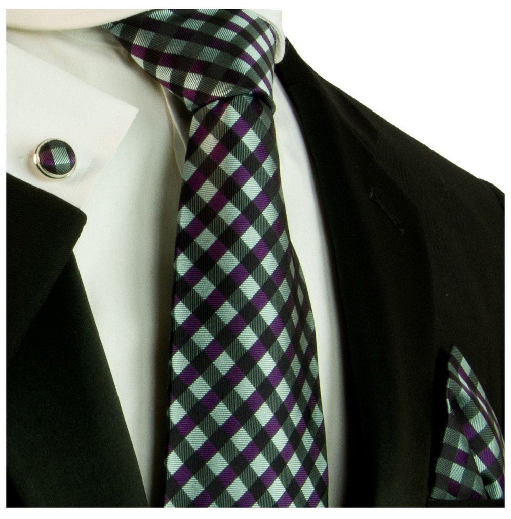 Turquoise and Purple Silk Tie and Accessories Paul Malone Ties - Paul Malone.com