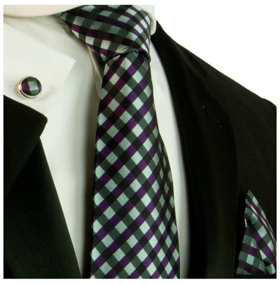 Extra Long Turquoise and Purple Silk Tie and Accessories Paul Malone Ties - Paul Malone.com