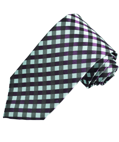 Turquoise and Purple Plaid Silk Necktie Paul Malone Ties - Paul Malone.com