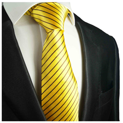 Vibrant Yellow and Black Stripes Silk Tie Paul Malone Ties - Paul Malone.com