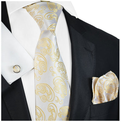 Champagne Paisley Formal Silk Tie and Accessories Paul Malone Ties - Paul Malone.com