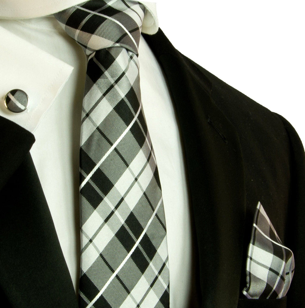 Black and White Plaid Silk Tie and Accessories Paul Malone Ties - Paul Malone.com