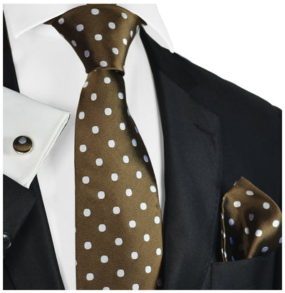 Silver on Brown Polka Dotted Tie Set Paul Malone Ties - Paul Malone.com