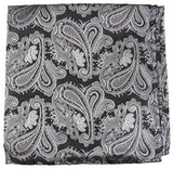 Silver and Black Paisley Silk Pocket Square Paul Malone  - Paul Malone.com