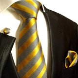 Gold and Grey Striped Silk Tie and Accessories in Silk Paul Malone Ties - Paul Malone.com