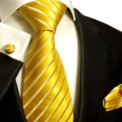Solid Gold Striped Silk Tie and Accessories Paul Malone Ties - Paul Malone.com