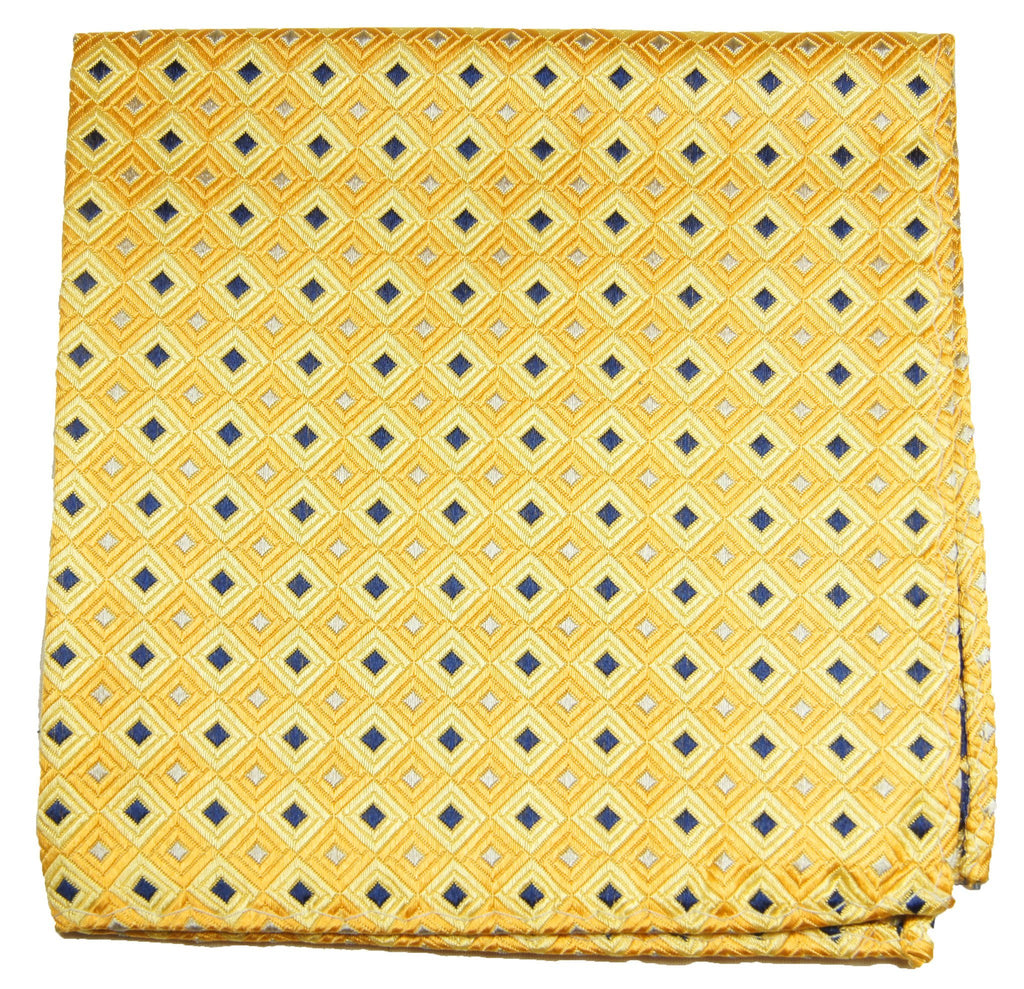 Yellow and Blue Patterned Silk Pocket Square Paul Malone  - Paul Malone.com