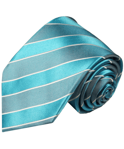 Turquoise Striped Silk Necktie Paul Malone Ties - Paul Malone.com
